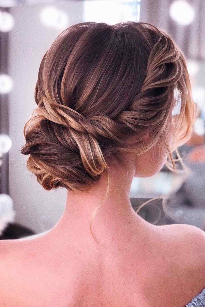 Twisted Low Bun With Long Bang #twistedhairstyles #lowbun