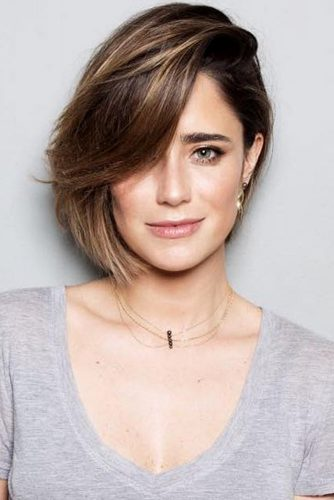 Side Swept Texturized Haircuts Brown Bob #shorthairstyles #shorthair #hairstyles #bobhairstyles #brownhair