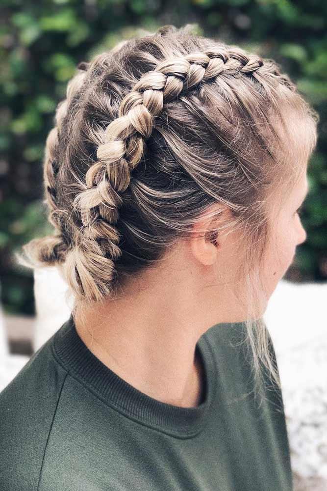 Double Dutch Cool Braids For Short Hair #shorthairstyles #shorthair #hairstyles #bobhairstyles #braids