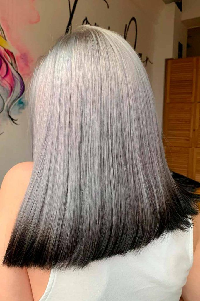 Black Ends And Grey Ombre Hair