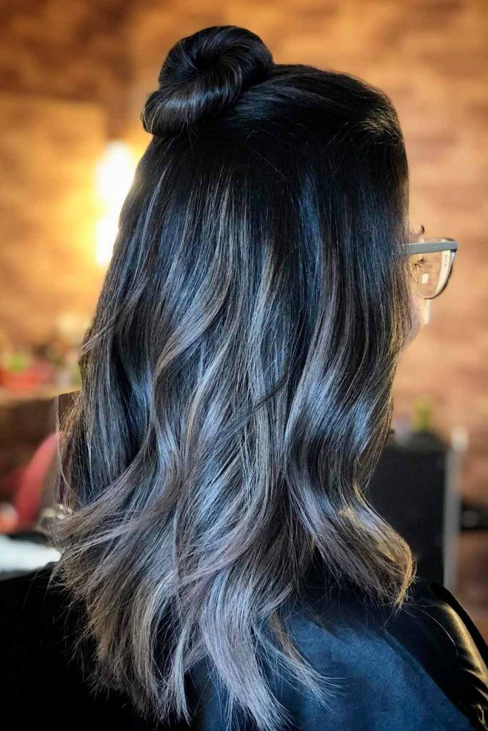 Dark Brown To Grey Ombre Long Hair