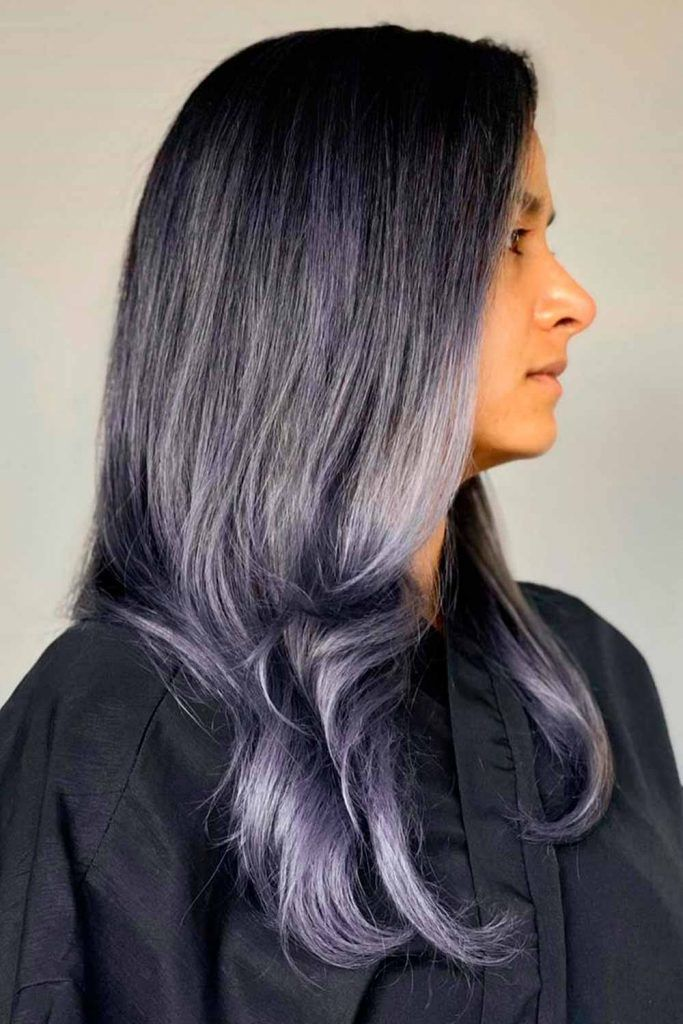 Dark Grey Ombre With Lavender Tone