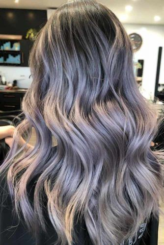 Grey Ombre With Lavender Tone Sleek #greyhair #ombre
