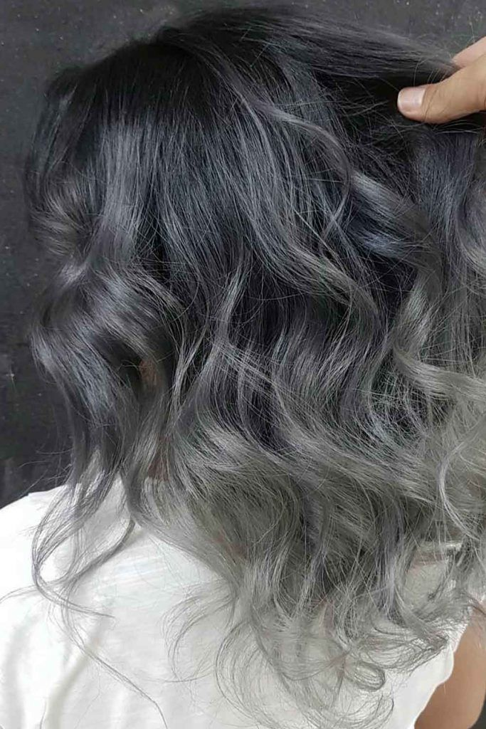Dark Grey Ombre  Wavy Hair