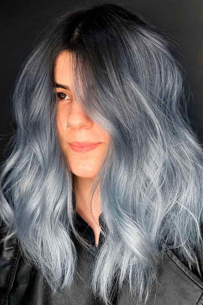 Long Grey Ombre With Blue Undertone
