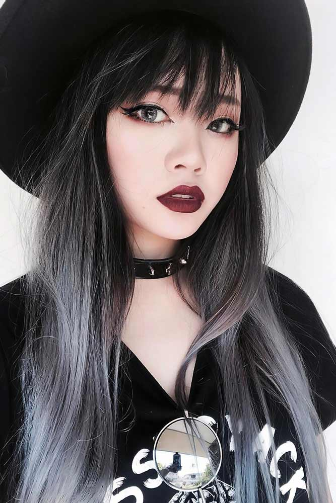 Grey Ombre With Blue Undertone Bangs #greyhair #ombre
