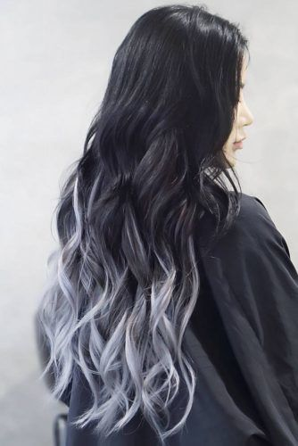 Grey Ombre With Blue Undertone Long #greyhair #ombre