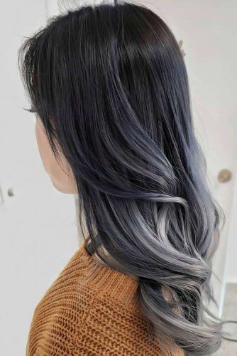 Grey Ombre With Blue Undertone Waves #greyhair #ombre