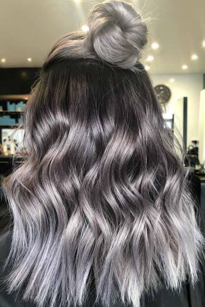 Ash Grey Hair Half-Up #greyhair #ombre