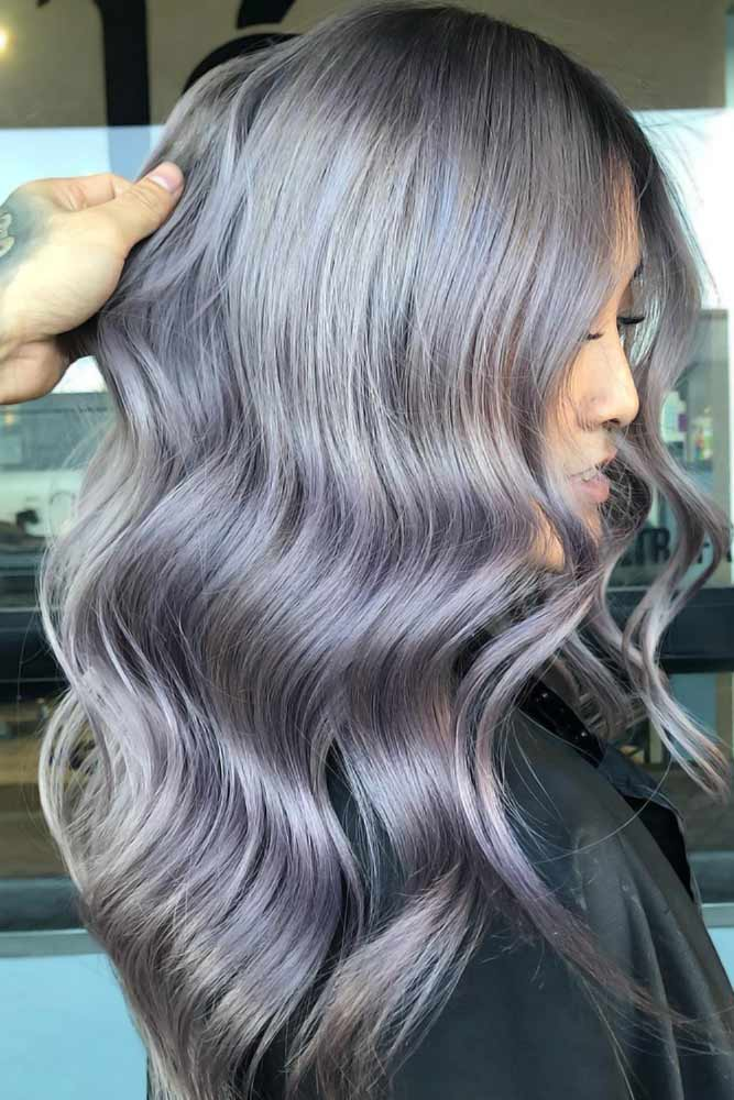 Grey Ombre With Lavender Tone Layers #greyhair #ombre