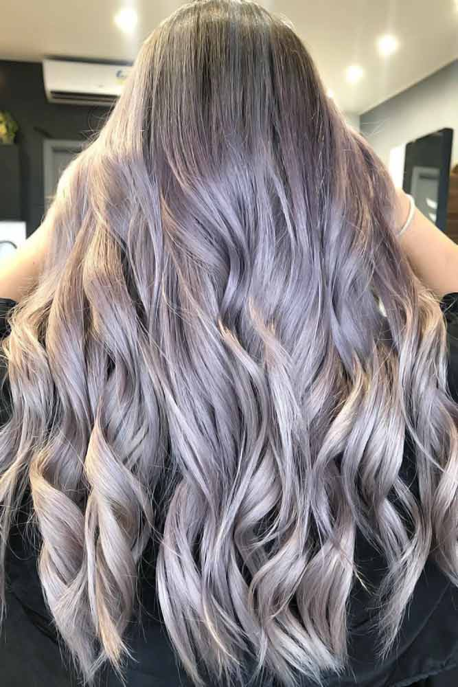 Grey Ombre With Lavender Tone Waves #greyhair #ombre