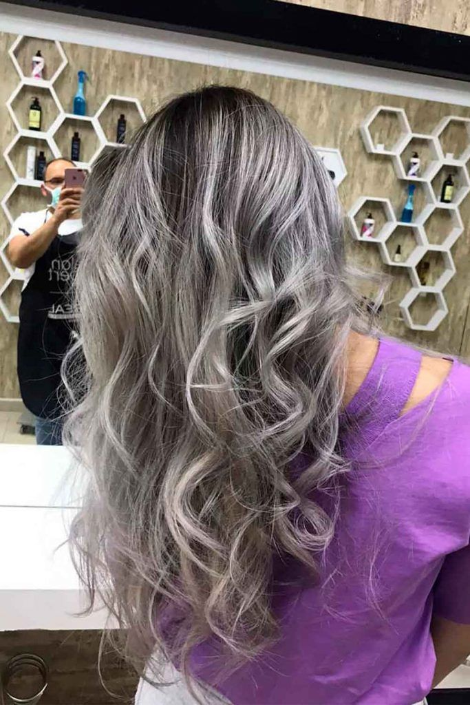Curly Light Grey Ombre Hair