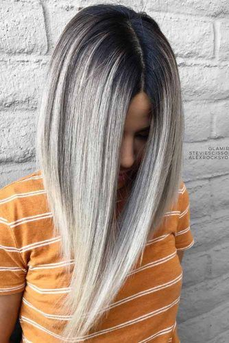 Dark Root Hair With Grey Color #greyombrehair #haircolor #ombrehair