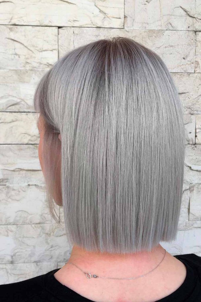 Dark Roots Hair With Grey Color For Short Hair