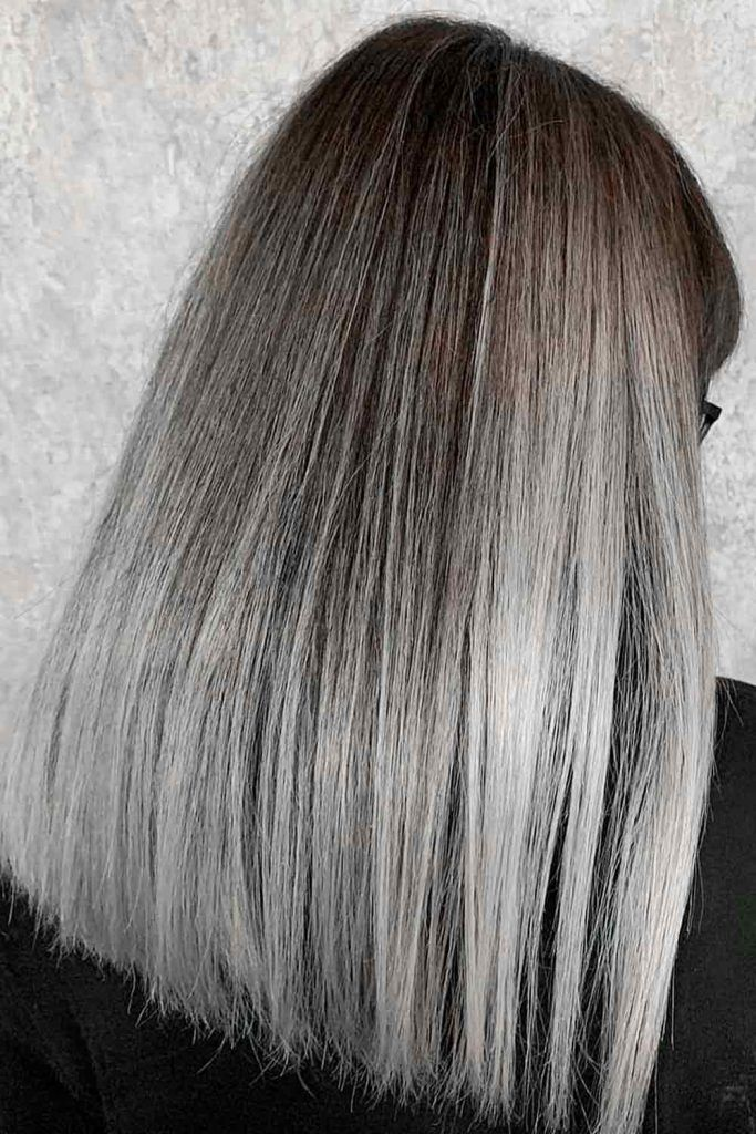 Brown To Grey Ombre Straight Hair