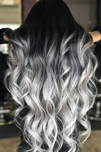 Long Silver Blonde Ombre Hair #greyombrehair #haircolor #ombrehair
