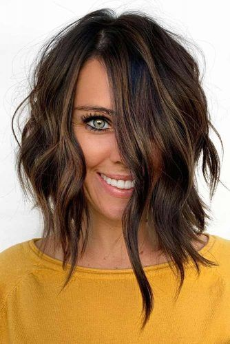 Asymmetrical Wavy Lob #hairstyles #faceshape #longface