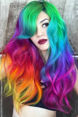 Layered Rainbow Waves #hairstyles #faceshape #longface #longhair #layeredhair