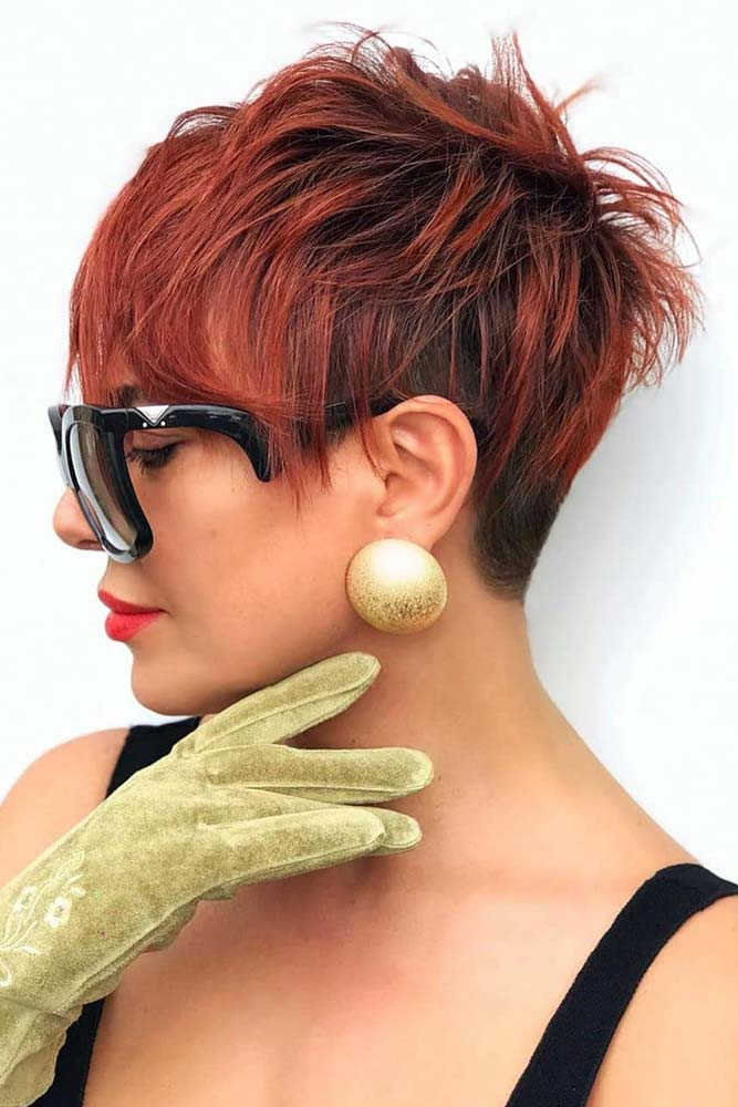 Edgy Red Pixie #hairstyles #faceshape #longface