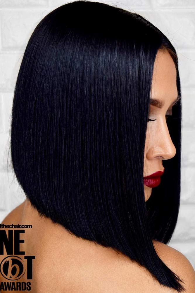 Sleek A Line Bob #hairstyles #faceshape #longface