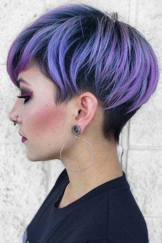 Violet Pixie With Undercut #hairstyles #faceshape #longface