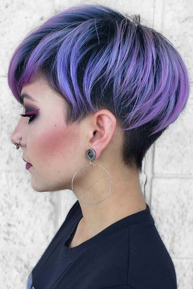 Violet Pixie With Undercut #hairstyles #faceshape #longface