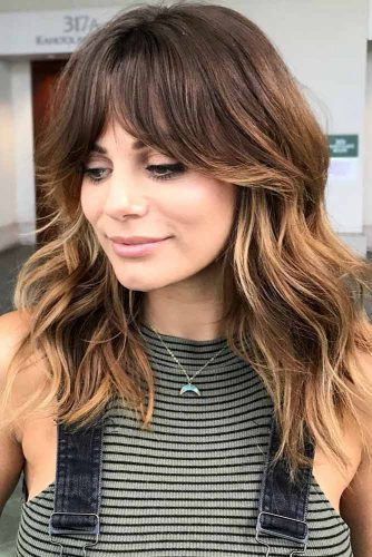 Long Layered Locks With Side Bangs #hairstylesforsquarefaces #faceshapes #hairstyles