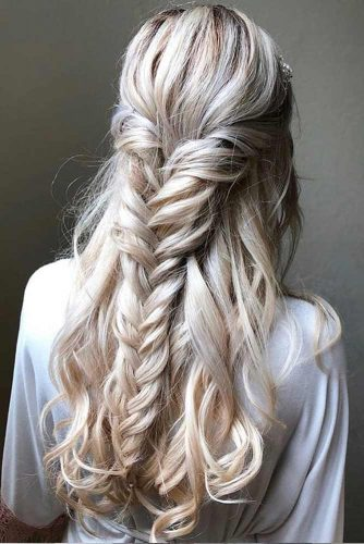 Half Up Hairstyles With Braids Platinum Blonde Highlights #halfuphalfdownhairstyles #longhair #promhairstyles #promhair #braidedhairstyles