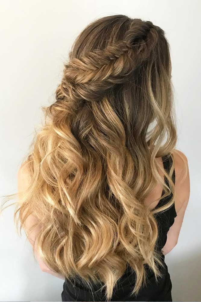 Half Up Hairstyles With Braids Sandy Highlights #halfuphalfdownhairstyles #longhair #promhairstyles #promhair #braidedhairstyles