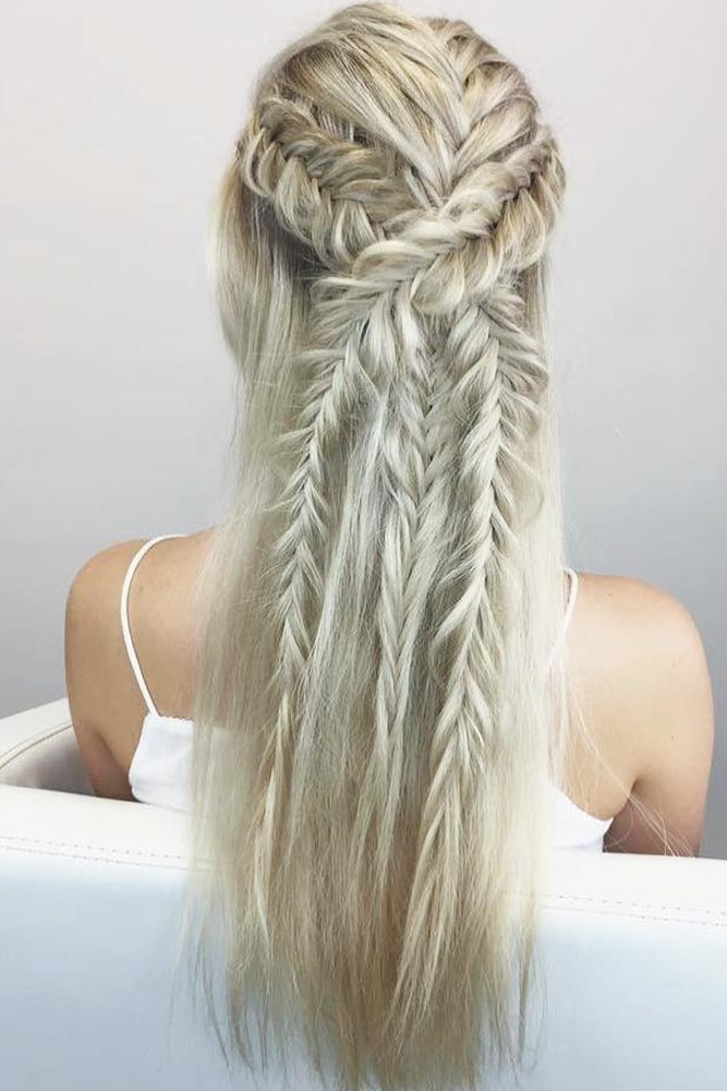 Half Up Hairstyles With Fishtail Braids #braids #halfup