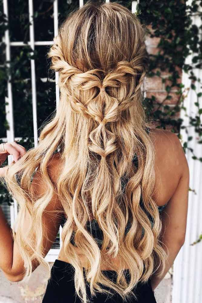 Half Up Half Down Prom Hairstyles With Pull Through Braids #halfup #braids