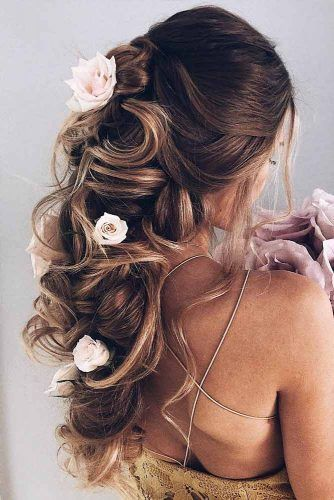 Half Up Half Down Prom Hairstyles With Roses Flowers #halfup