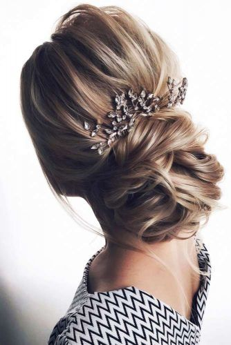 Back Headpiece Low Bun #weddinghairstyles