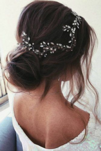 Headpiece Jewelry For Bun Updos Brown #weddinghairstyles