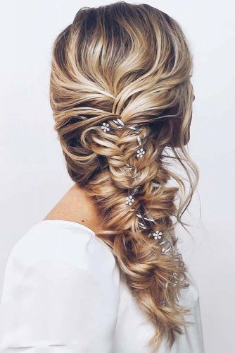 Down Styles With Feed In Jewelry Side Fishtail #weddinghairstyles