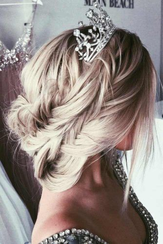 Headdress Jewelry Crown Fishtail Braid #weddinghairstyles
