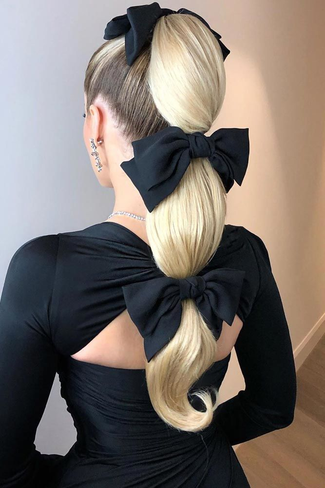 High Blonde Pony With Bows #ponytail #highponytail #hairstyles