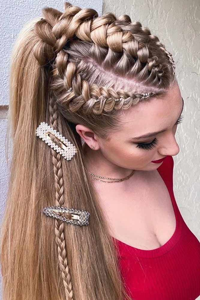 Braids Into High Pony With Bobby Pins #ponytail #highponytail #hairstyles