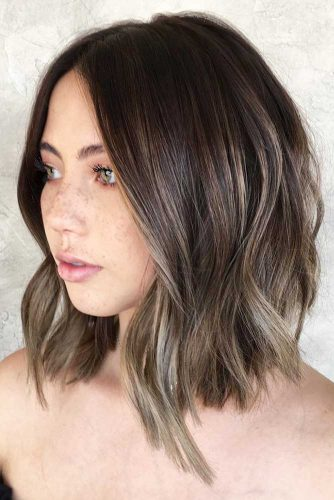 Silver and White Highlighted Hair Bob #brunette #highlights #bob