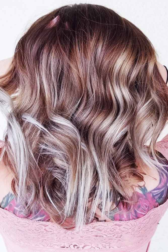Grey And Blonde Colored Highlights For A Hologram Effect #brunette #blondehair #highlights