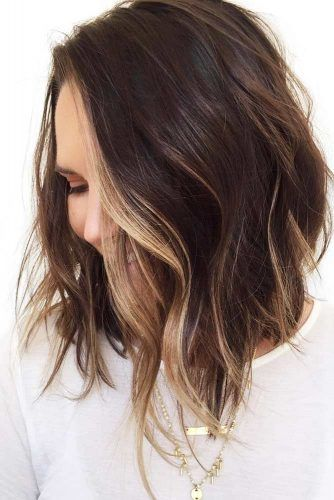 Highlights For Short To Medium Hair Waves #brunette #highlights