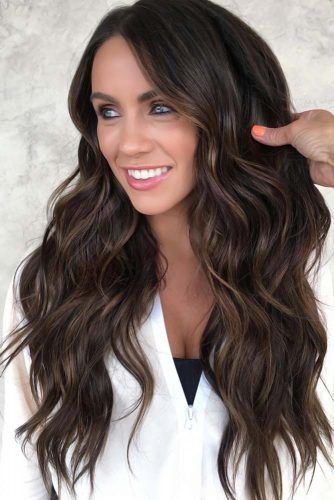 Amazing Long Highlighted Hair Cold #brunette #highlights