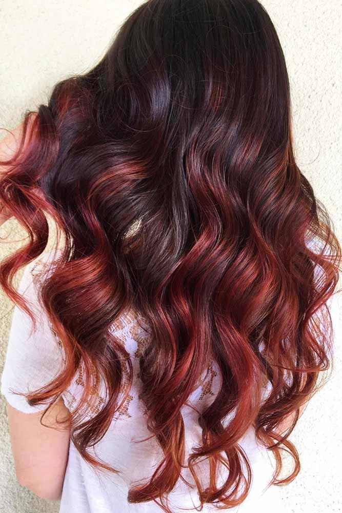 Cherry Highlights On Dark Brown Hair #brunette #redhair #highlights