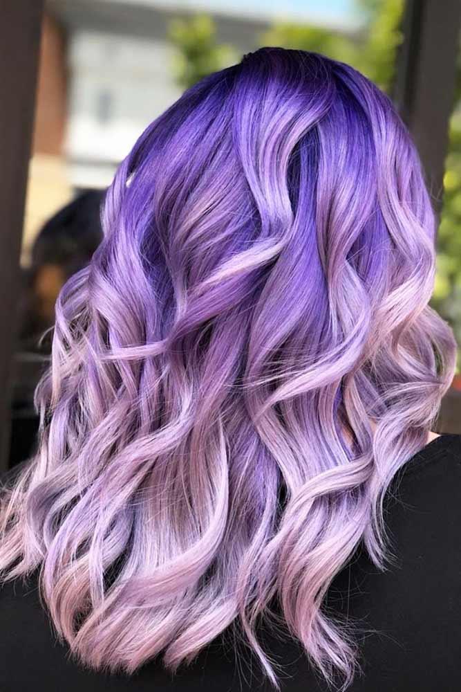 Long Light Purple Hair With Dark Roots #lightpurplehair #haircolor