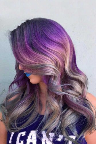 Purple Balayage with Loose Curls picture1