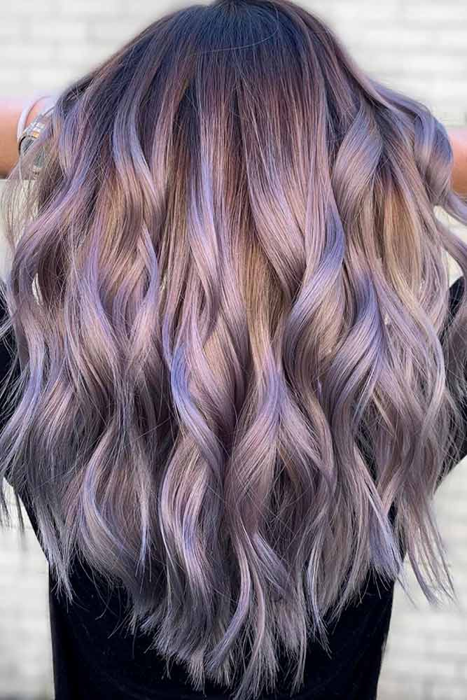 Wavy Light Purple Hair With Dark Roots #lightpurplehair #haircolor