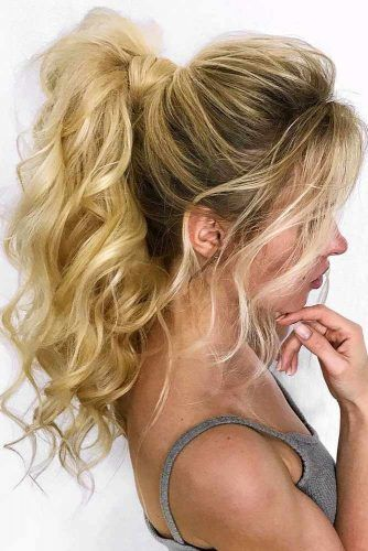Gorgeous Wavy Ponytail Hairstyles #updo #ponytails