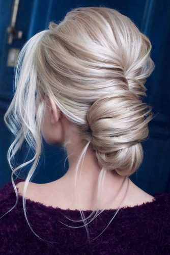 Stunning Prom Updos For Blonde Hair Low Bun #updohairstyles #longhair #promhairstyles #promhair #hairstyles