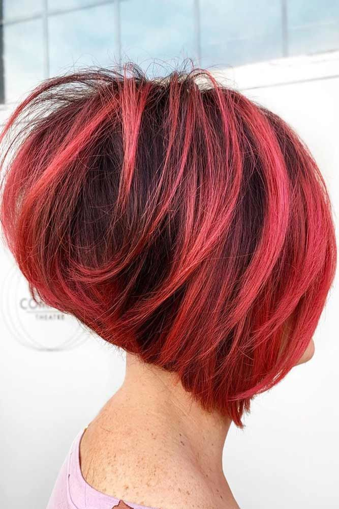 Inverted Straight Red Bob #bob #layeredhair