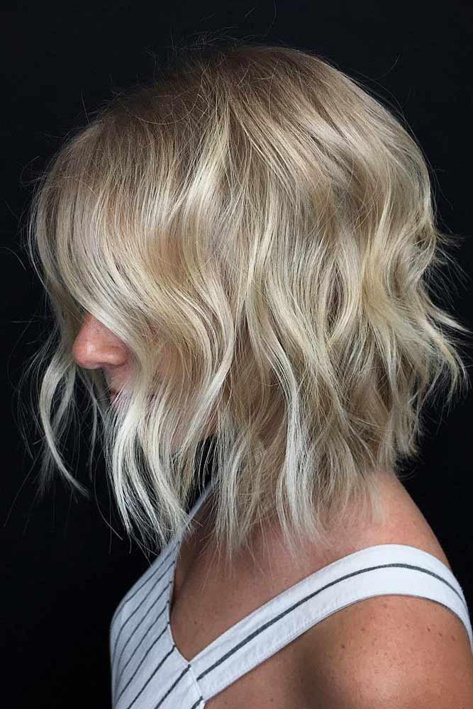Wavy Lob For Thin Hair #layeredbobhairstyles #layeredbob #hairstyles #haircuts